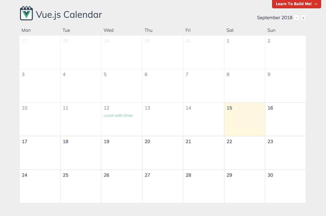 Event Calendar Js : Vue.js calendar made with vue.js